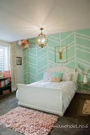 Mint Green Home Decor Little Girls Mint And Gold Bedroom Harringbone Wall Kids Space