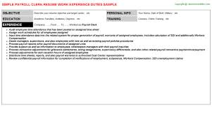 Sample Resume For Payroll Assistant by Payroll Clerk Job Title Docs