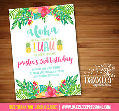 luau invitations printable luau birthday invitation tropical watercolor flowers