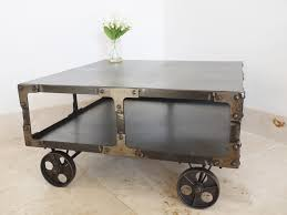 industrial coffee table with wheels industrial metal coffee table on wheels melody maison