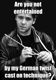 Knitting Meme - russell crowe knitting demanded to be meme d you re welcome why