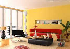 living room yellow red living theme interior combination by