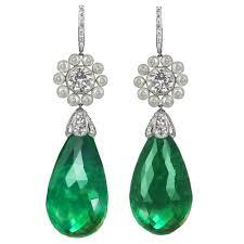 emerald drop drop emerald earrings platinum pear shape emerald diamond drop