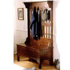 antique hall tree storage bench metal hat hooks storage drawer