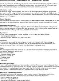 List Of Skills For A Resume Telecommunications Technician Cover Letter