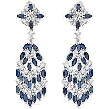 chandelier earring blue sapphire diamond gold chandelier earring for sale at 1stdibs