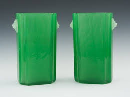 Jade Vases A Pair Of Steuben Opalene Jade Green Glass Vases 04 02 11 Sold
