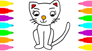 cat coloring pages for kids how to draw cat coloring pages kids learn colors for childrens