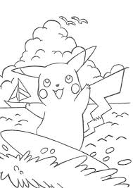 pikachu surfing pokemon coloring page boys coloring pages boys