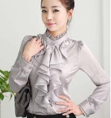 frilly blouse 2018 high neck frilly womens vintage blouse