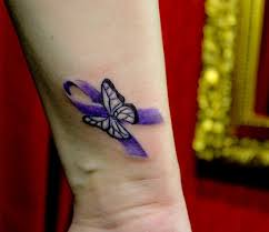 butterfly and purple ribbon cancer