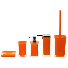 5 Piece Bathroom Set district17 rainbow 5 piece bathroom accessory set in orange