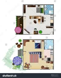 architecture plan furniture top view 1rooms stock vector 555080041