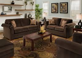 Chocolate Fabric Modern Casual Living Room Sofa  Loveseat Set - Casual living room chairs
