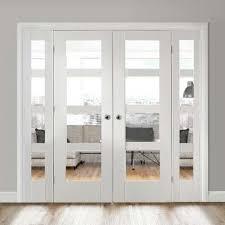 white easi frame room divider doors system double shaker 4 pane