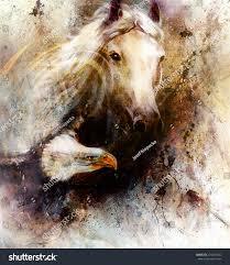 beautiful painting white horse flying eagle stock illustration