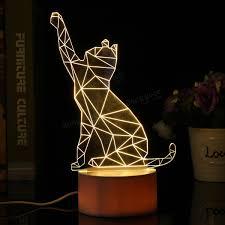 usb cat night light 3d usb cute cat acrylic night light 3 color changing led desk table