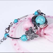 tibetan silver turquoise necklace images Tibetan silver turquoise jewelry butterfly bead bangle bracelet png