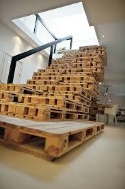 interior stacked pallet into stair treads ideas for home
