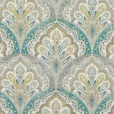Turquoise Paisley Curtains Teal Grey Paisley Upholstery Fabric Modern Yellow Grey