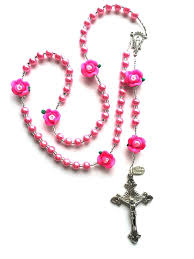 pink rosary hot pink pearl and roses flower rosary can be personalized