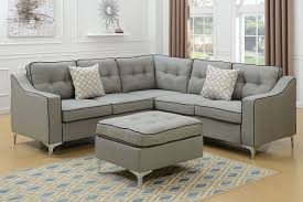 couch and ottoman set poundex f6998 light grey polyfiber 4 pc sectional sofa ottoman set