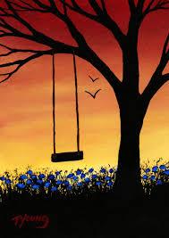 tree swing modern folk print of todd painting last days of