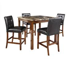 5 piece faux marble leather counter height dining set table chairs