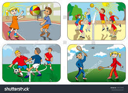 children play different outdoor games volleyball stock vector