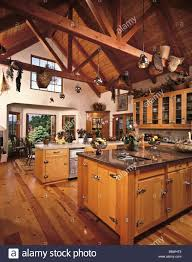 Lighting For Beamed Ceilings Country Kitchen Wood Beamed Ceiling Cabinets Spacious Center