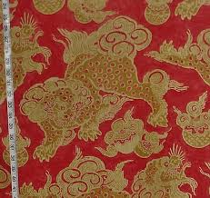 foo dog lion asian fabric foo dog lion pink gold linen from