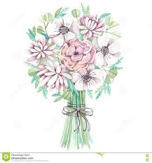 wedding flowers drawing watercolor wedding bouquet with flower stock illustration image