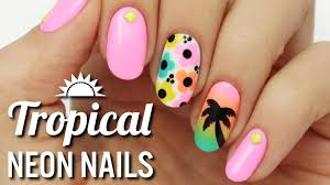 tropical neon nail art youtube