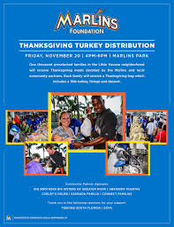 Thanksgiving Foundation Miami Marlins Thanksgiving Turkey Distribution Feeding South Florida