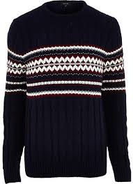 cable knit christmas river island navy fair isle cable knit christmas sweater where