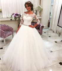 half lace wedding dress lace half sleeves gown wedding dresses scalloped neckline