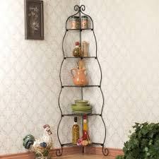 Bakers Shelf Rack Corner Bakers Rack 5 Tier Shelves With Decorative Metal Scrollwork