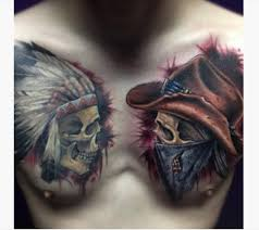 two cowboy skull on chest