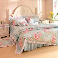 Girls Bedding Sets Twin by Blue White Rose Flower Girls Ruffle Bedding Sets Twin Full Queen