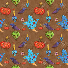 raven pumpkin pattern cute cartoon colorful halloween seamless pattern with ghost