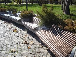 Benches In Park - circular row of benches in park stock photo image 52738800