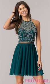 short emerald green homecoming dress with open back homecoming