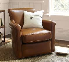 Swivel Chairs Living Room Furniture Irving Leather Swivel Armchair Pottery Barn