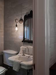 Mirrored Subway Tile Backsplash Bathroom Transitional With by Grey Subway Tiles Transitional Bathroom Hsh Interiors