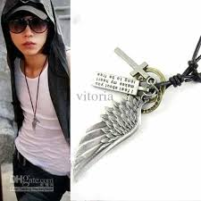 long mens necklace images Wholesale new mens unisex fashion punk metal wing pendant long jpg