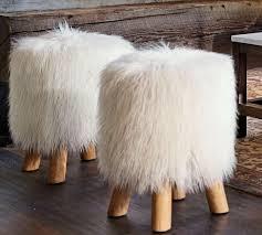 Mongolian Faux Fur Rug Mongolian Faux Fur Stool Pottery Barn