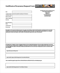 certificate of insurance request form template sample disability