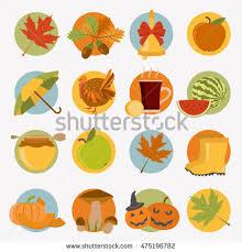 autumn icon set thanksgiving day stock vector 468324920