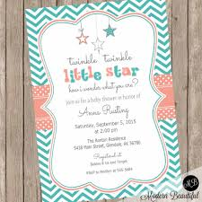 twinkle twinkle little star baby shower invitation coral and