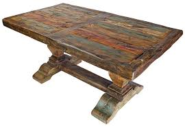 mexican dining table set painted and natural wood dining table with thick trestle pedestal base